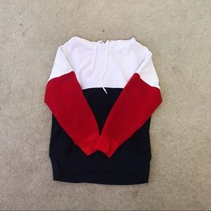 hooded red white and blue sweatshirt